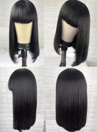 100% Human Hair Wig With Bangs Short Bob Human Hair Wigs For Black Women Cheap Brazilian Straight Black 30 Inch Long Fringe Wig discountshub