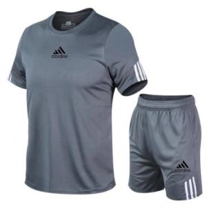 2021 summer men's short sleeve Shorts Set mesh o-neck sportswear brand running fitness training clothes discountshub