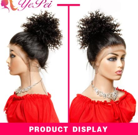 6inch Short Curly Hair Bun Extensions Drawstring Ponytail Human Hair Natural Black Brazilian Clip Ins Remy Yepei Pony Tail discountshub