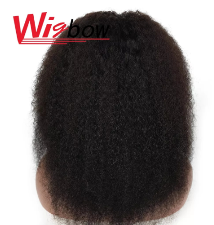 Afro Kinky Curly Middle Part Wig Lace Closure Human Hair Wigs Full Natural Color 4*4 Lace Wig 180% Peruvian Remy Curly Hair Wig discountshub