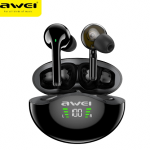 Awei TWS T12P Dual Dynamic Driver Earbuds Bluetooth 5.1 Handsfree Deep Bass Touch Control Half In-Ear With Microphone For Phone discountshub