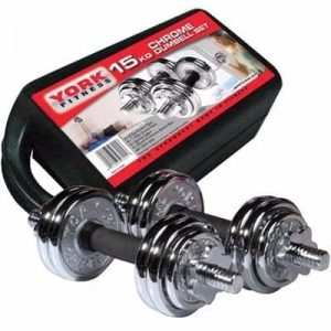 Chrome Dumbbell with Case - 15Kg discountshub