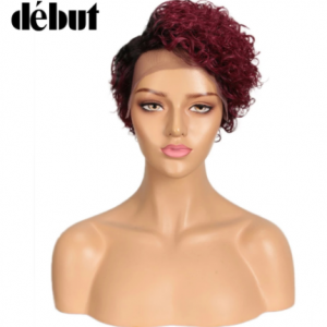 Debut Ombre Human Hair Wigs Short Curly Bob Lace Front Human Hair Wigs 99J Red Pixie Cut Lace Part Human Hair Wigs Cheap discountshub
