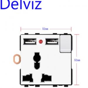 Delviz DIY Combination Switch Socket, connection Multiple interfaces White Panel, RJ45 TV 2 way switch, EU Standard Power Outlet discountshub