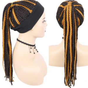 GURUILAGU Long Braided Box Braids Wigs For Black Women Synthetic Hair Headband Wig Braid African Natural Black Brown Wig Women discountshub