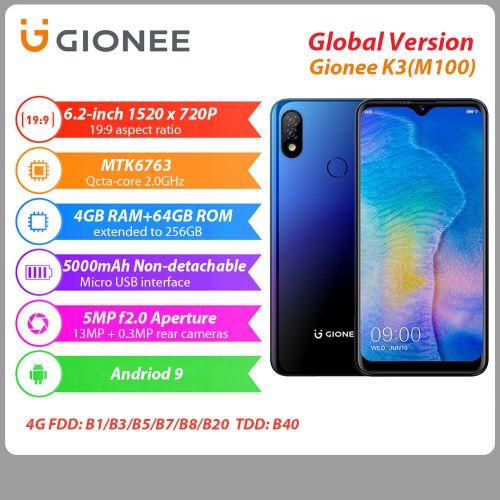 Gionee K3(M100) 4GB+64GB 6.22 Inch HD+ Android P 5000 Mah Dual SIM 4G LTE Smartphone discountshub