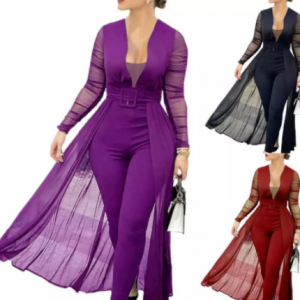 Jumpsuit Solid Color Skinny Playsuit Women Long Sleeve Sheer Patchwork Waist Tight Belt Overall for Party discountshub