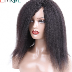 Kinky Straight Human Hair Wigs Full Machine Made Wig For Women Malaysian Remy Hair Fringe Wig Natural Black 12-26 inch discountshub