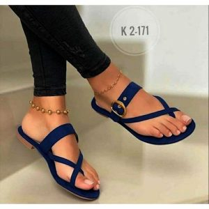 Ladies Suede Casual Flat Slippers-Blue discountshub