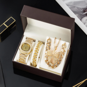 Luxury Women Watch Set Gold Watches Necklaces Bracelet Cuban Chain Butterfly Rhinestones Bling Jewelry 4Pcs Sets Gifts For women discountshub