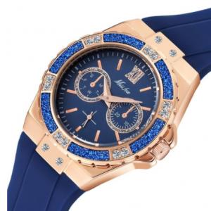 MISSFOX Women's Watches Chronograph Rose Gold Sport Watch Ladies Diamond Blue Rubber Band Xfcs Analog Female Quartz Wristwatch discountshub