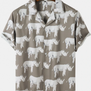 Mens All Over Rhinoceros Pattern Revere Collar Short Sleeve Shirt discountshub