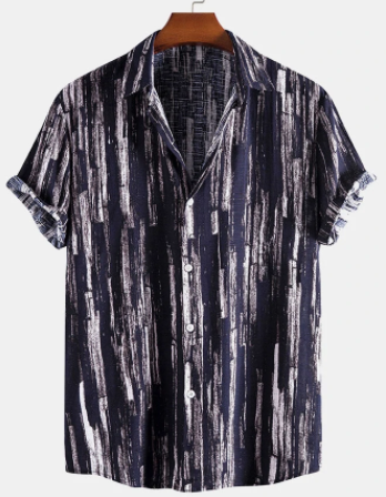 Mens Brush Print Lapel Street Cotton Linen Short Sleeve Shirts discountshub