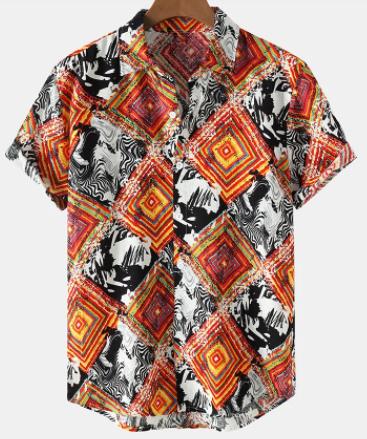Mens Colorful Argyle Pattern Lapel Vintage Short Sleeve Shirts discountshub