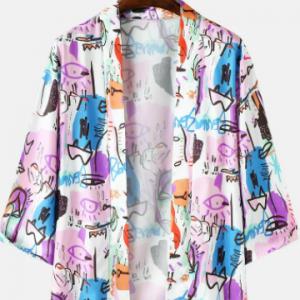 Mens Colorful Graffiti 3/4 Sleeve Ethnic Style Open Front Kimono discountshub