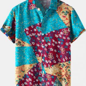 Mens Ditsy Floral Geometric Print Holiday Short Sleeve Shirts discountshub