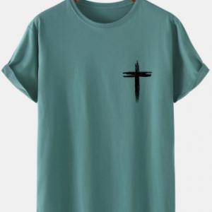 Mens Graffiti Cross Print 100% Cotton Simple Short Sleeve T-Shirt discountshub