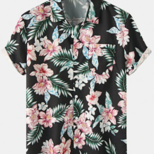 Mens Holiday Floral Print Cotton Short Sleeve Shirts With Pocket discountshub