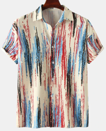 Mens Irregular Colorful Striped Loose Street Short Sleeve Shirts discountshub