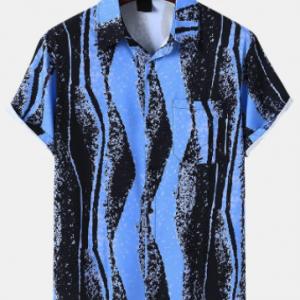 Mens Irregular Ink Striped Print Button Up Short Sleeve Shirts discountshub