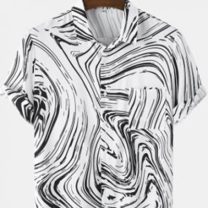 Mens Monochrome Abstract Stripe Print Short Sleeve Shirts With Pocket discountshub