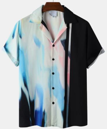Mens Ombre Abstract Print Camp Collar Street Short Sleeve Shirts discountshub