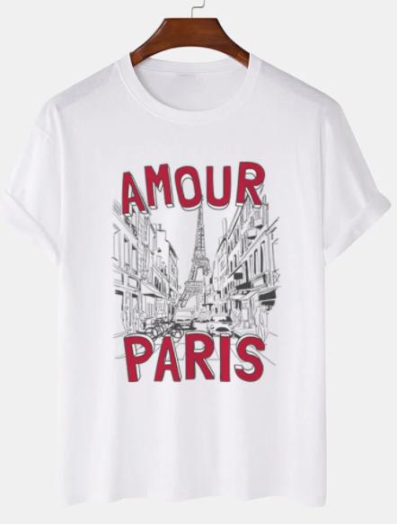 Mens Paris Building Print 100% Cotton Casual Short Sleeve T-Shirts discountshub