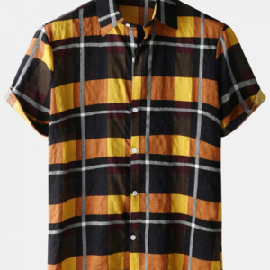 Mens Plaid Checkered Lapel Button Up Short Sleeve Shirt discountshub