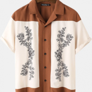 Mens Revere Collar Abstract Flower Patchwork Print Short Sleeve Shirt discountshub