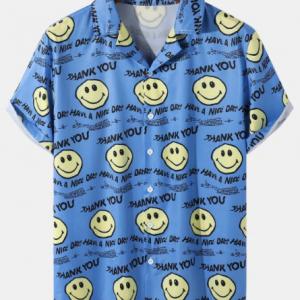 Mens Smile Letter Print Revere Collar Short Sleeve Curved Hem Shirt discountshub