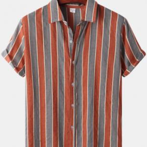 Mens Striped Casual Short Sleeve Lapel Curved Hem Shirt discountshub