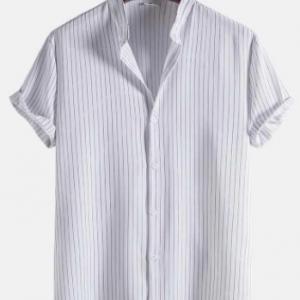Mens Striped Grandad Collar Short Sleeve White Shirt discountshub