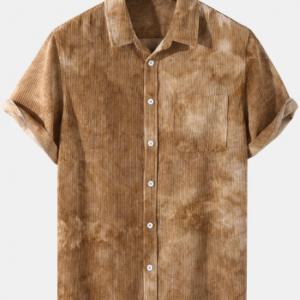 Mens Tie Dye Corduroy Button Up Street Short Sleeve Shirts discountshub