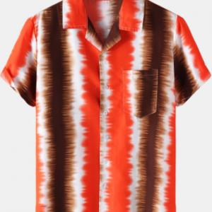Mens Tie Dye Striped Camp Collar Holiday Short Sleeve Shirts discountshub