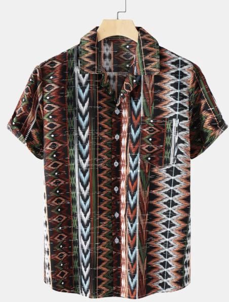 Mens Tribal Geometry Pattern Chest Pocket Short Sleeve Shirt discountshub
