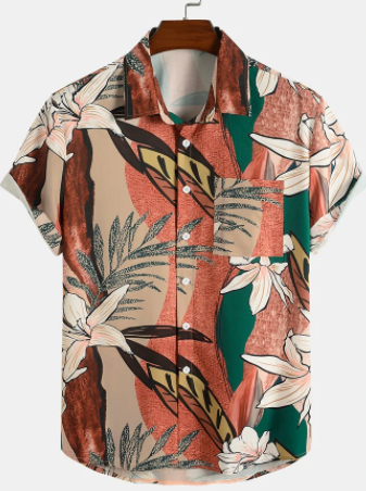 Mens Tropical Floral Print Short Sleeve Holiday Button Up Shirt With Pocket discountshub