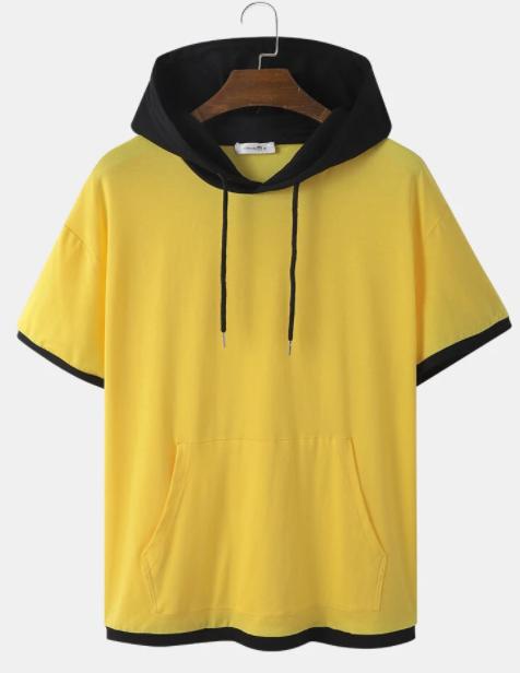 Mens Two Tone Kangaroo Pocket Short Sleeve Hooded T-Shirt discuntshub