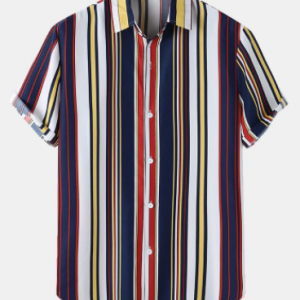 Mens Vertical Striped Lapel Curved Hem Preppy Shirt discountshub