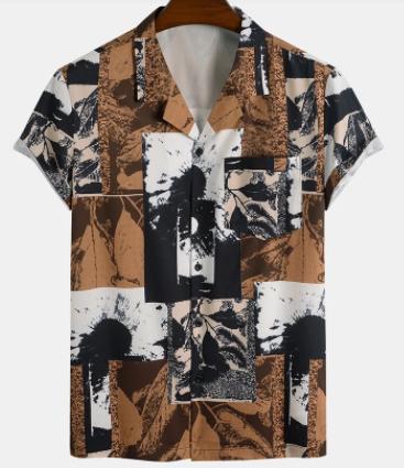 Mens Vintage Color Block Revere Collar Button Up Short Sleeve Shirt discountshub