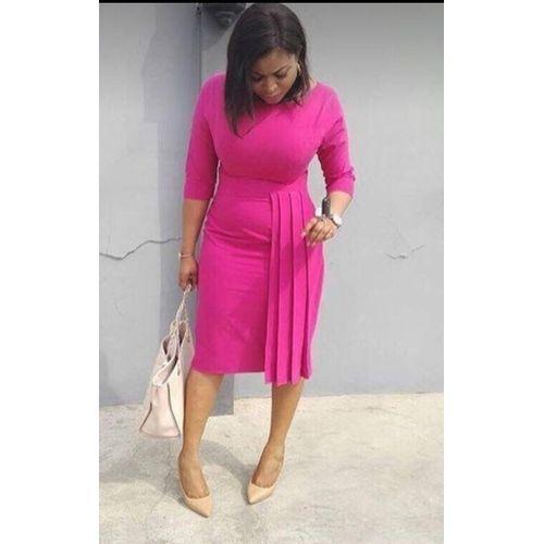 Pleated Pink Formal Dress discountshub