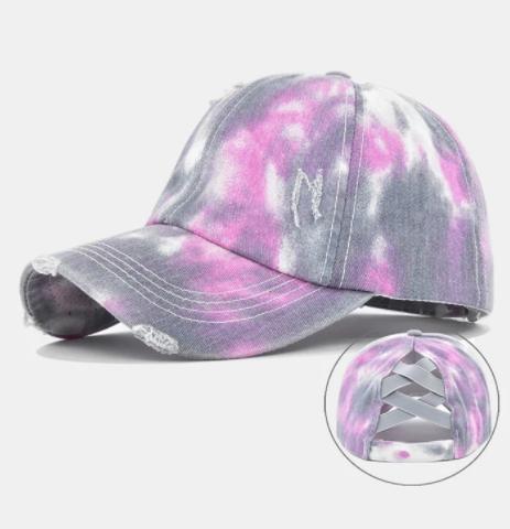 Unisex Washed Distressed Cotton Tie-dye Broken Hole Fashion Sunshade Baseball Caps discountshub