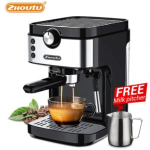 Zhoutu 19 Bar Espresso Coffee Maker Machine with Milk Frother for Espresso, Latte and Mocha, Cappuccino,1372-1633 W discountshub
