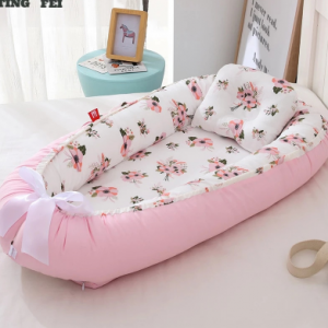 100% Cotton Breathable Folding Removable and Washable Portable Crib Bed Bionic Diaper Change Baby Pillow Travel Crib Babynest discountshub
