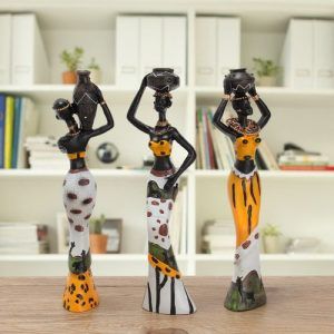 3PCS African Lady With Vase Ornament Statue Home Decor discountshub