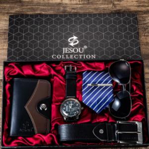 5 Pcs Men Business Watch Set Chronograph Quartz Watch Belt Wallet Glasses Tie Gift Kit discountshub