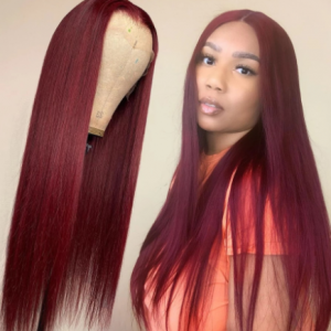99j Burgundy Lace Front Wig Red Colored Human Hair Wigs For Women 30 Inch Pre-Plucked Hd Transparent Straight Human Hair Wig discountshub