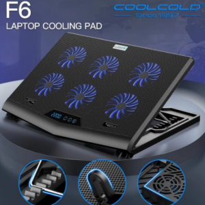 Coolcold 7 Adjustable Heights Six High Speed Fans Strong Cooling Gaming Laptop Cooler with LED Screen discountshub