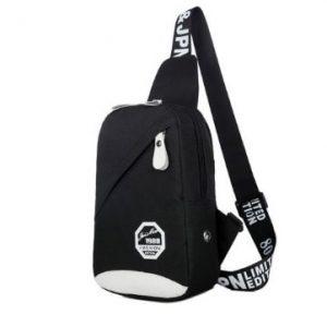 Cross Body Canvas Messanger Bag - Black discountshub