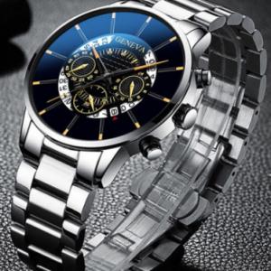 Decorated Pointer Men Business Watch Calendar Stainless Steel Leather Quartz Watch discountshub