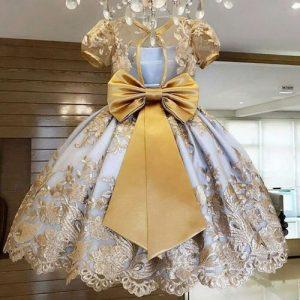 Girls Cute Princess Dress Lace Bow Dress-Gold/Yellow discountshub